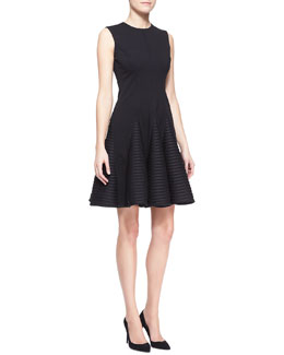 Lela Rose Sleeveless Seamed Stripe-Skirt Dress