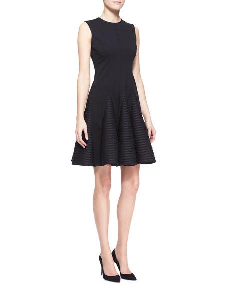 Sleeveless Seamed Stripe-Skirt Dress