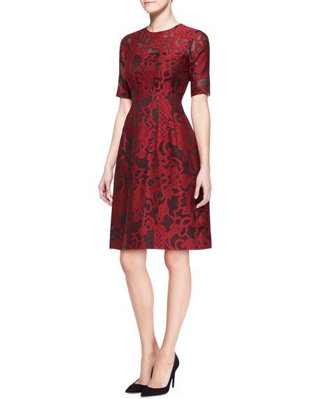 Brocade Lace Elbow-Sleeve Dress