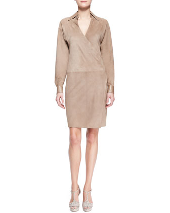Ralph Lauren Collection April Suede Surplice Shirtdress