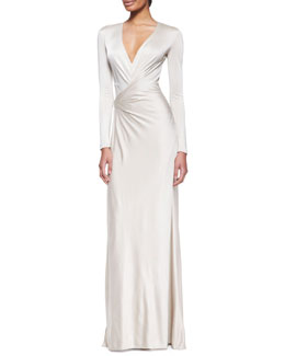 Ralph Lauren Collection Miranda Jersey Evening Dress, Wheat