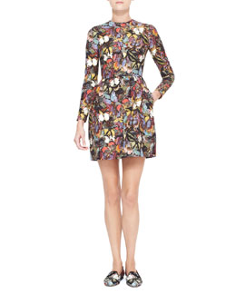 Valentino Long-Sleeve Butterfly Print Bambolina Dress, Multicolor