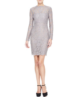 Valentino Long-Sleeve Lace Sheath Dress, Lilac Gray