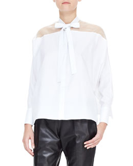 Valentino Sheer-Yoke Self-Tie Side-Slit Blouse, White