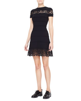 Valentino Lace-Insert Striped Dress, Black