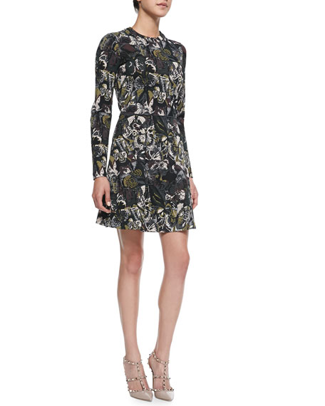 Long-Sleeve Butterfly-Print Flounce Dress