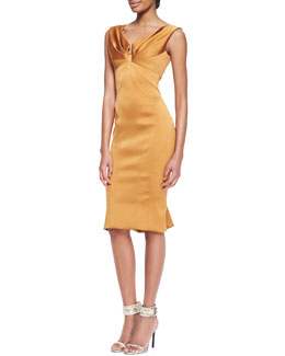 Zac Posen Cap-Sleeve Stretch Duchess Dress, Bronze