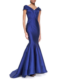 Zac Posen Seamed Off-Shoulder Drape Gown