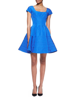 Zac Posen Short-Sleeve Silk Faille Dress, Capri Blue