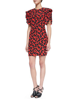 Saint Laurent Short-Sleeve Fluttering Silk Heart-Print Dress