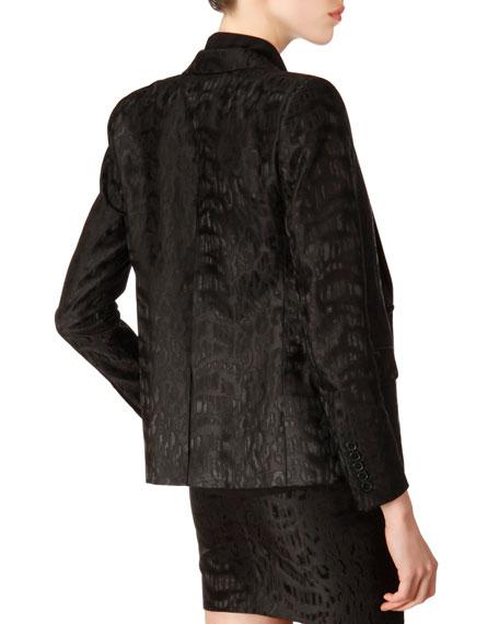 Long-Sleeve One-Button Animal Jacquard Blazer