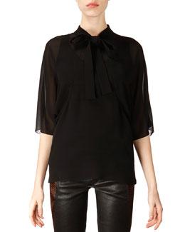 Saint Laurent Mid-Sleeve Silk Tie Blouse