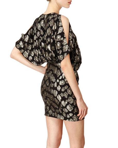 Cinch-Waist Flutter-Sleeve Minidress
