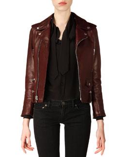 Saint Laurent Classic Bordeaux Leather Moto Jacket