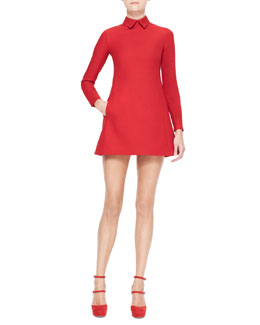 Valentino Collared Long-Sleeve Dress, Red