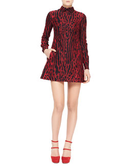 Valentino Ocelot-Print Collared Long-Sleeve Dress, Red