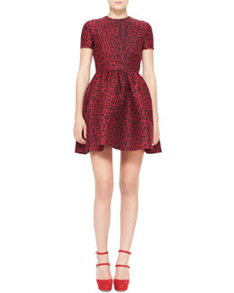 Valentino Short-Sleeve Leopard-Print Bambolina Dress, Red