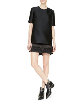 Stella McCartney Mod Short-Sleeve Fringe-Bottom Dress