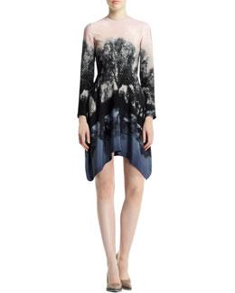 Stella McCartney Fireworks Hampstead Printed Dress, Black/Blush/Multi