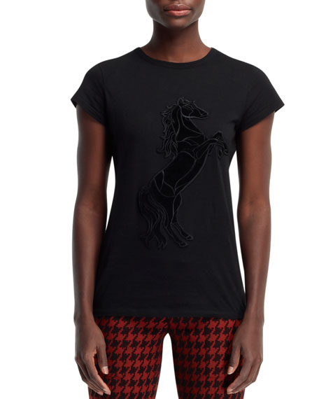 Stallion Applique T-Shirt, Black