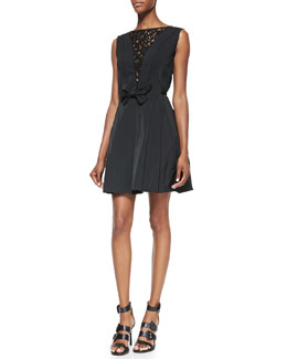 Nina Ricci Sleeveless Fit-and-Flare Dress with Lace