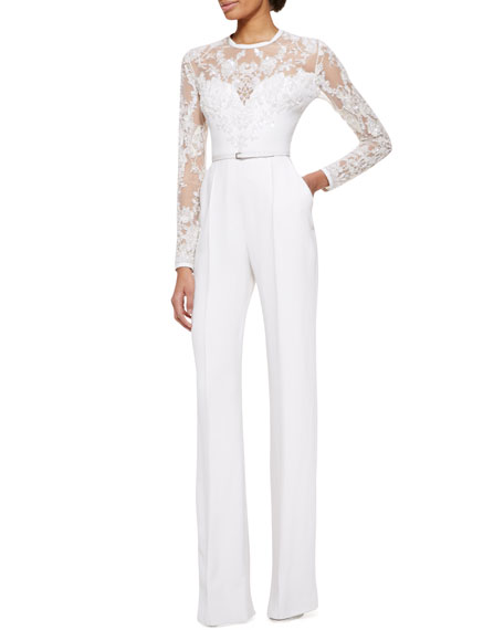 Elie saab long sleeve lace embellished jumpsuit jasmine white - Jumpsuit hochzeit ...