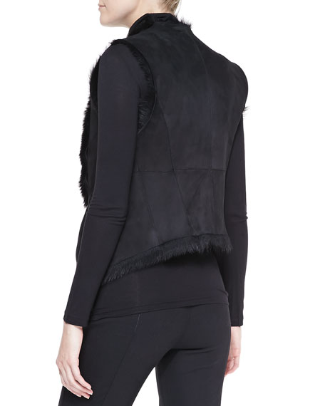 Draped Shearling Vest, Black