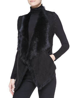 Donna Karan Draped Shearling Vest, Black