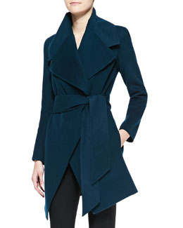 Donna Karan Self-Belted Cashmere Wrap Coat
