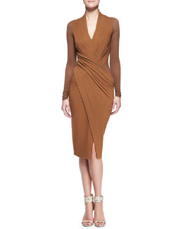 Donna Karan Cool Jersey Draped Long-Sleeve Dress
