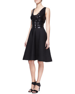 Donna Karan Sequin A-Line Cocktail Dress