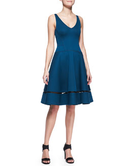 Donna Karan A-Line Cocktail Dress with Sheer Inset