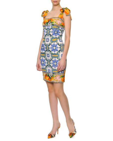 Bow-Shoulder Tile-Print Dress