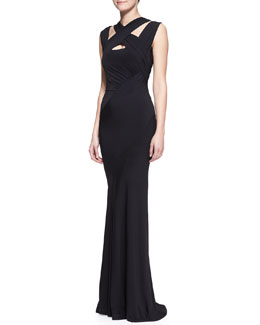 Donna Karan Long-Sleeve Cross-Neck Jersey Gown