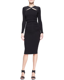 Donna Karan Long-Sleeve Leather-Trim Cool Jersey Slash Dress