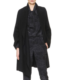 Bottega Veneta Wide-Collared Cashmere Coat with Belt, Nero Black