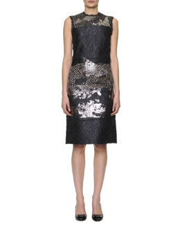 Bottega Veneta Sleeveless Metallic-Laminated Floral Cloque Dress, Black/Silver