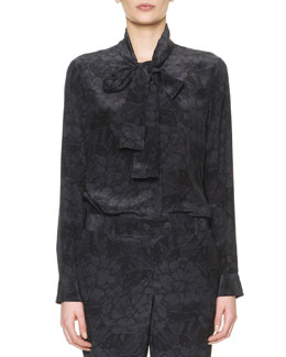Bottega Veneta Long-Sleeve Chrysanthemum-Print Silk Blouse, Black/Gray