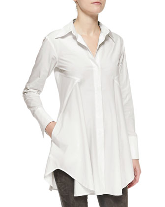 Donna Karan Easy Stretch Poplin Shirt Tunic, Dust