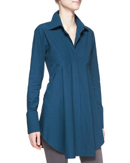 Donna Karan Easy Stretch Poplin Shirt Tunic, Teal