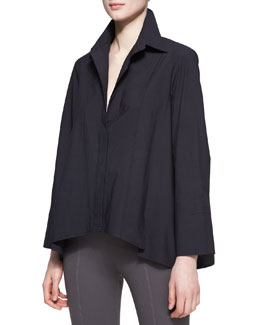 Donna Karan Long-Sleeve Button-Up Cotton Shirt, Black