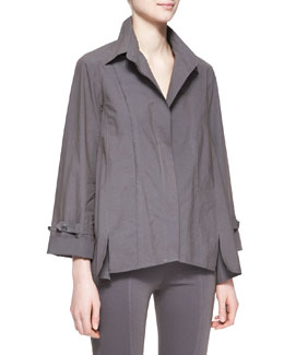 Donna Karan Long-Sleeve Roll-Sleeve Button-Up Cotton Shirt, Slate