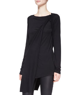 Donna Karan Long-Sleeve Asymmetric-Drape Tunic