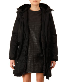 Acne Studios Fur-Trim Long Powder Jacket