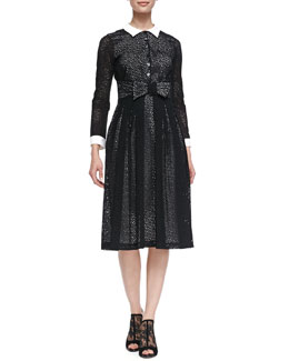 L'Wren Scott Contrast Collared & Cuffed 3/4-Sleeve Broderie Anglaise Dress