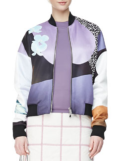 3.1 Phillip Lim Dropped-Shoulder Printed Bomber Jacket, Purple/Multi