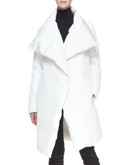 Donna Karan Down Puffer Clutch Coat, White