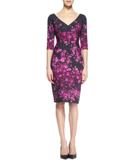 Lela Rose Half-Sleeve Floral-Print Dress, Magenta/Black