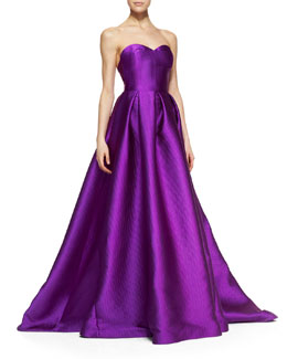 Lela Rose Strapless Basketweave Doupioni Gown with Full Skirt, Magenta