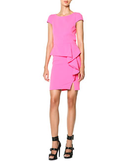 Emilio Pucci Cap-Sleeve Side-Cascade Ruffle Sheath Dress, Rosa Dolce (Sweet Pink)